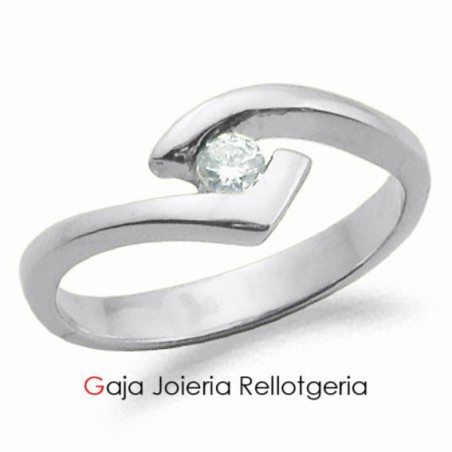 anell or blanc amb diamant talla brillant