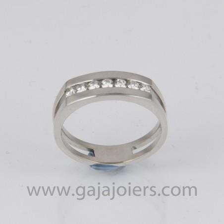 anillo oro blanco con diamantes talla brillante