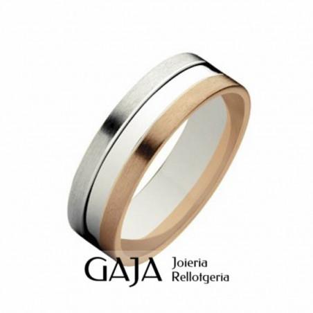 Alianzas de boda oro de ley bicolor mate