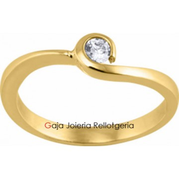 anillo oro amarillo con diamante talla brillante