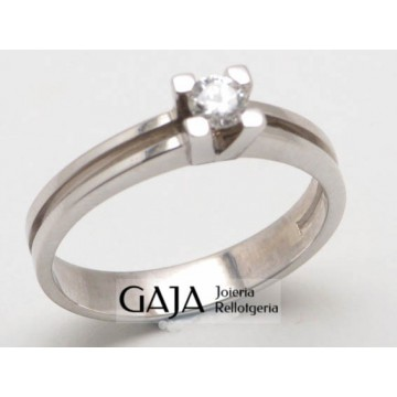 Anillo oro blanco 18 kilates y diamante