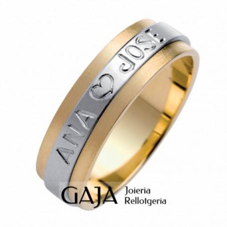 Aliançes de casament or de llei bicolor matisat 016A