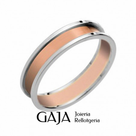 Alianzas de boda oro de ley bicolor mate y brillo