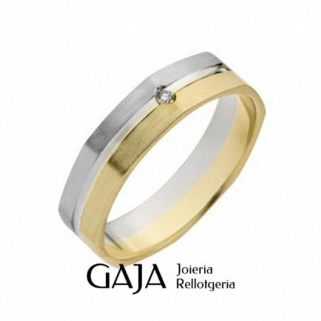 Alianzas de boda oro de ley bicolor mate octogonal