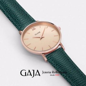 Rellotge CLUSE col·lecció Minuit xapat rosa amb pell legítima verda i esfera daurada CL30052