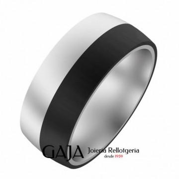 Alianza plata y fibra de carbono 8 mm de ancho