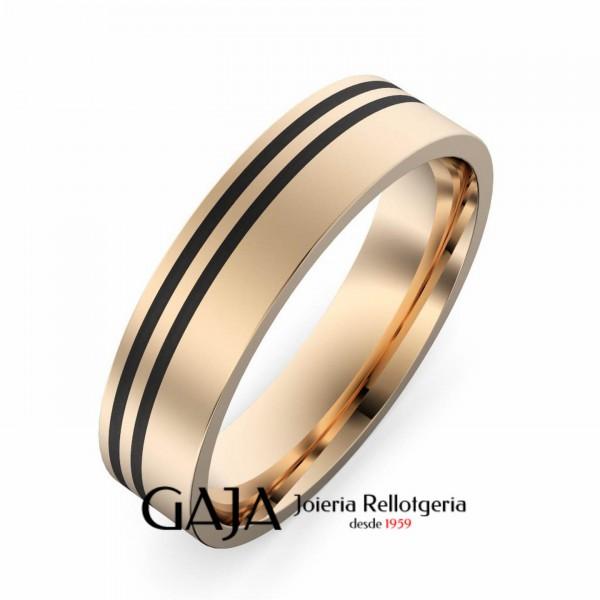 Aliançes de casament or rosa i fibra de carboni 9495RC