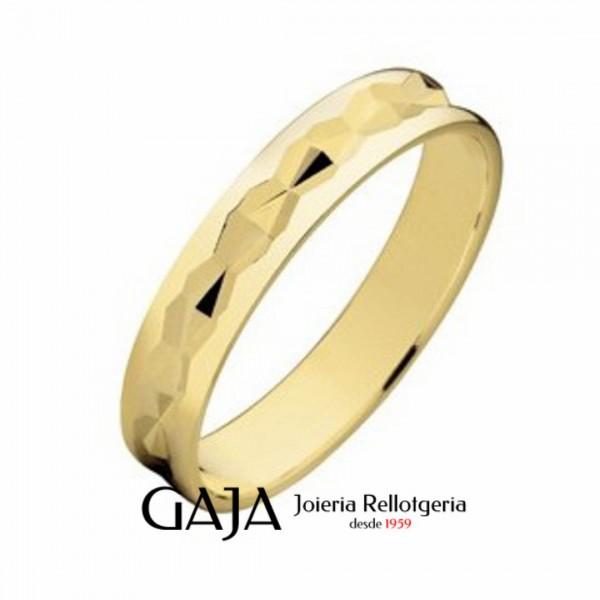 Alianzas de boda oro amarillo lapidada brillo