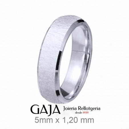 Aliança de casament de plata de llei texturitzada de 5 mm d'amplada 357P50ST12