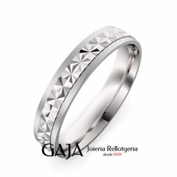 Aliança de casament de plata de llei texturitzada de 4 mm d'amplada 357P50ST12