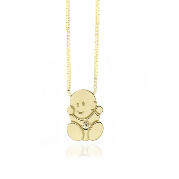 Colgante joya de la madre bebé de oro y diamante