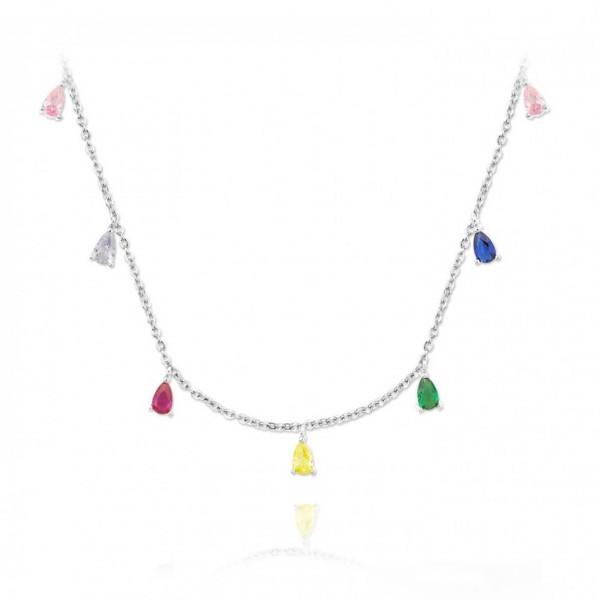 Gargantilla de plata con circonitas de colores