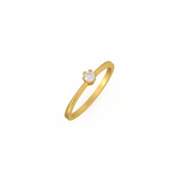 Anell solitari d'or groc amb diamant